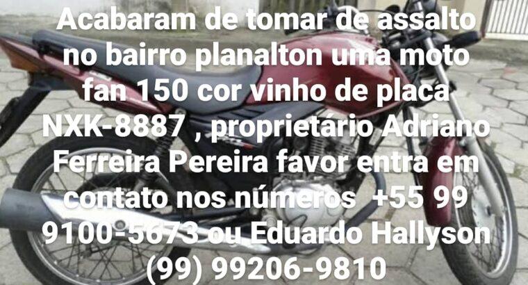 MOTO FURTADA – HONDA CG 150 FAN 2012 COR VINHO