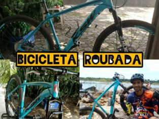 Bicicleta azul com preto marca KSW aro 29 roubada