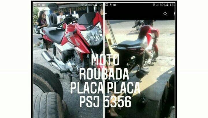 Moto roubada vermelha titan 160 placa psj5356